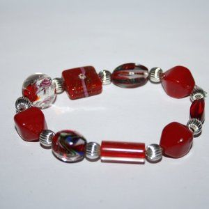 """Beautiful red glass and silver bracelet 7"""""""